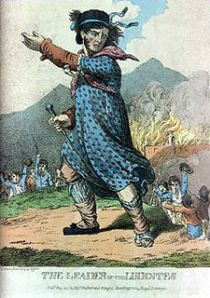 Engraving of the leader of the Luddites