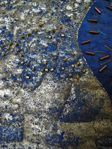 Blue and gold vase detail