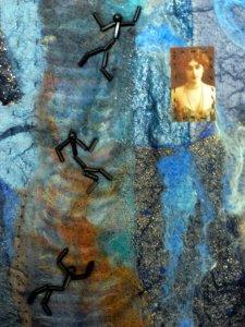 Falling man quilt, detail
