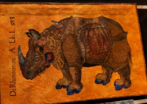 Durer's Rhinceros in stitch whole quilt