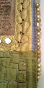Blanket stitch and bead edging on Body Shop Quilt