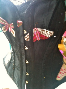 Pink and black butterfly corset - front view