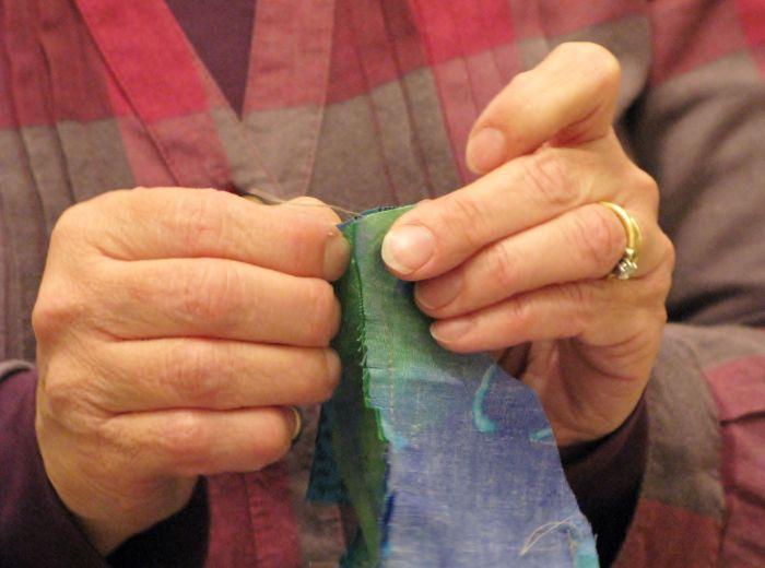Alison stitching a fine seam