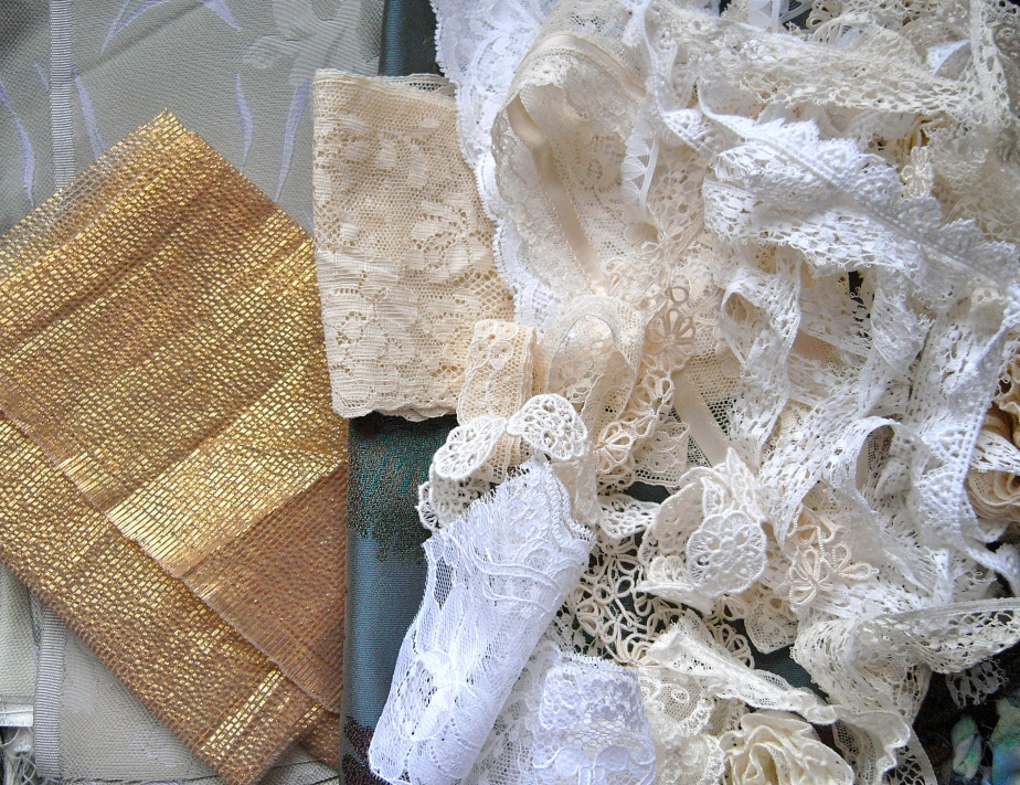 Gorgeous vintage brocade and golden gauze from Alison and David, and lace from Julie